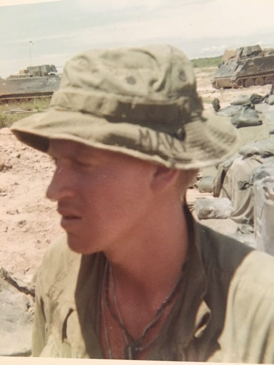 Gary Bonvillian pictured while serving in the U.S. Army in South Vietnam. His now-wife's name, Mary, is written on his hat.