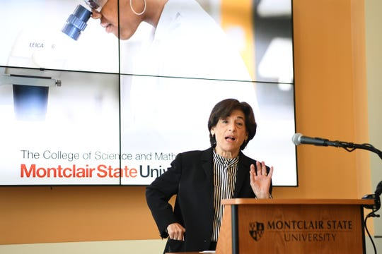 Montclair State University President Susan A. Cole during a press conference at Montclair University's Center for Environmental and Life Sciences announcing nearly $2.5 million in federal grants from NASA and the U.S. Department of Education.
