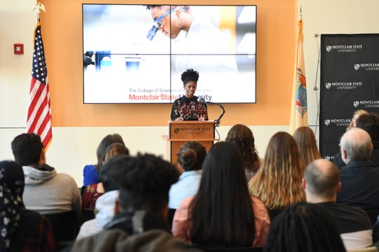 NJ Secretary of Higher Education Zakiya Smith Ellis during a press conference at Montclair University's Center for Environmental and Life Sciences announcing nearly $2.5 million in federal grants from NASA and the U.S. Department of Education.