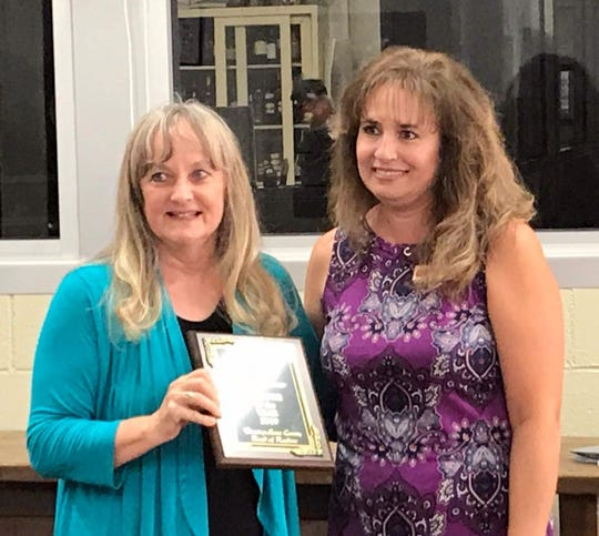 Quality Broker Eva Luna, at right, was presented with the prestigious award of Realtor of the Year for 2019 by past recipient Merline Hensley during the Luna County Board of Realtors banquet held Oct. 17 at Marie's Italian Grill, 110 S. Silver Avenue. Luna is a Qualified Broker at Deming Realty. She was recognized by the board as Deming's top for being Deming's top producer. Luna is also a past winner of the award in 2016 and has been with the firm for the past eight years. The award also acknowledges community invoIvment in helping many customers here in Deming achieve the american dream of owning a home, fair treatment of the public and cooperation among brokers.