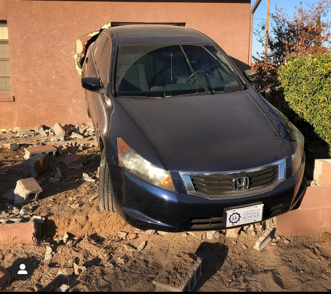 A car crashed through a home on the 700 block of S. Esperanza St. on Tuesday, Oct. 29. No injuries were reported.