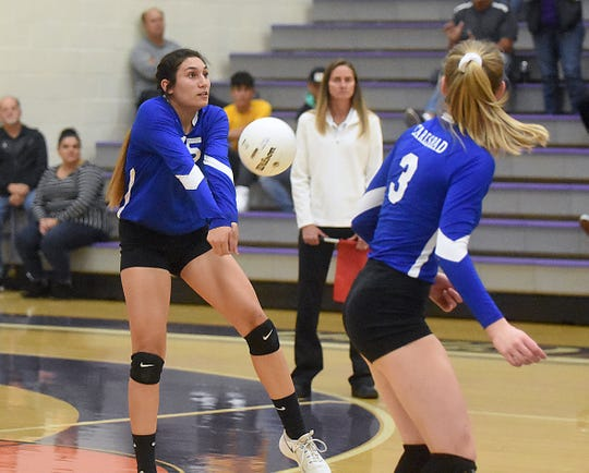 Carlsbad junior Serena Rodriguez plays a ball in the first set of Tuesday's District 4-5A tournament match at Rock Staubus Gymnasium in Clovis.