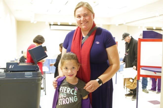 Virginia and Emilia Weaver, after Virginia, Emilia's mother, voted at the Farmingtion Museum on Election Day, Nov. 5, 2019.