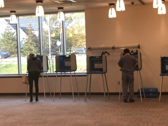 Voters mark their ballots at the Novi Library on Nov. 5, 2019.