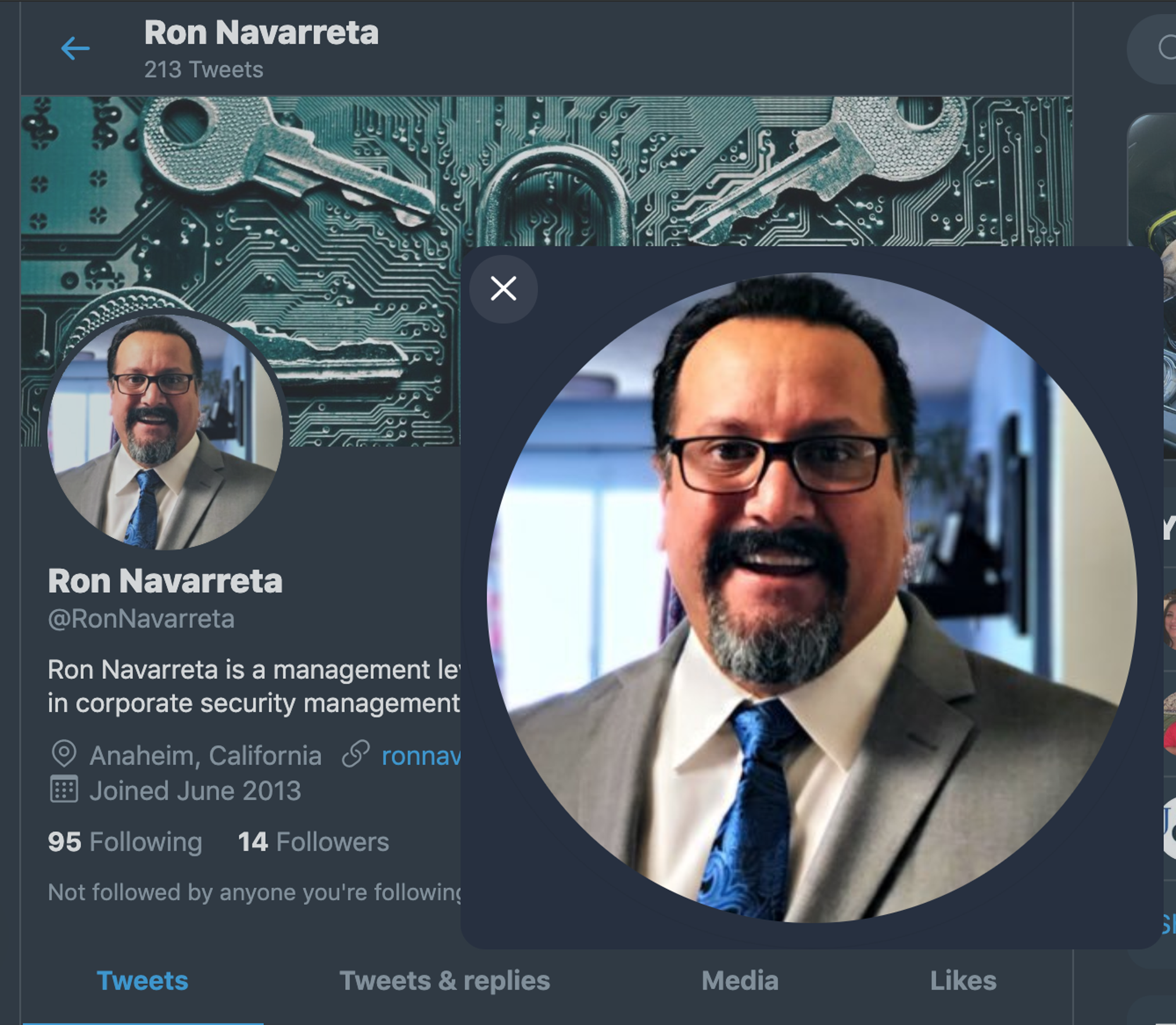 "Ron Navarreta, a former police officer in McFarland, was linked to a child porn probe. His Twitter profile describes him as ""a management level security and investigations expert with an MS in corporate security management."""
