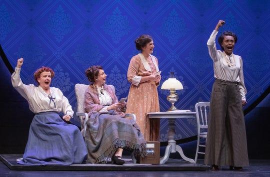 "Amelia White (eft), Veronika Duerr, Tori Grace Hines and Inger Tudor in Arizona Theatre Company's ""Silent Sky."""