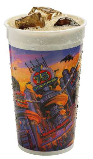 For its 75th anniversary, Harkins Theatres introduced this futuristic cup in 2008. Harkins first introduced its loyalty cup in November 1988.