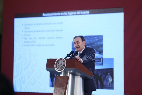 Secretario Alfonso Durazo informó que en zona de masacre a la familia LeBarón se localizaron casquillos de procedencia estadounidense.
