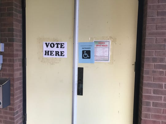 The doors to the polling place at Messiah Lutheran Church in Lebanon. Several voters reported a smooth voting process on Tuesday.