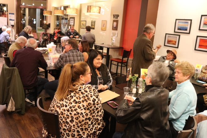 Local Democratic Party members gathered at Bistro 163 in Port Clinton after polls closed on Tuesday.