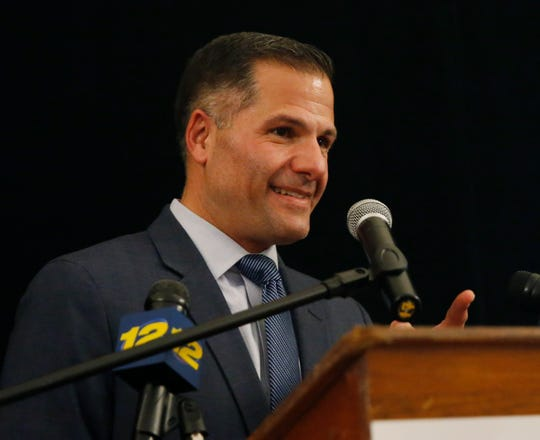 Dutchess County Executive Marc Molinaro celebrates winning a third term in office during the Dutchess County Republican Party celebration at the Poughkeepsie Tennis Club on November 5, 2019.