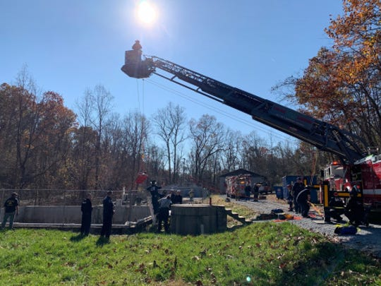 Emergency responders rescue a man who fell down a sewer pit in Newberry Township Wednesday, Nov. 6. Photo courtesy of Newberry Township Police.