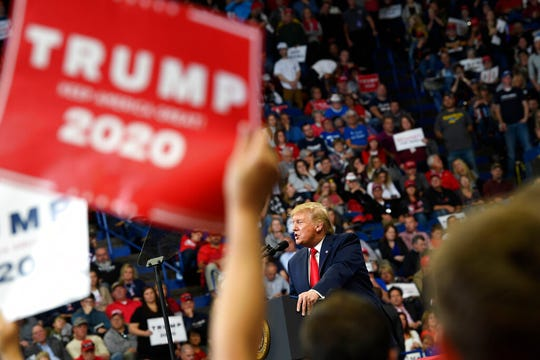 President Donald Trump speaks during a campaign rally in Lexington, Ky., Monday, Nov. 4, 2019. (AP Photo/Susan Walsh)