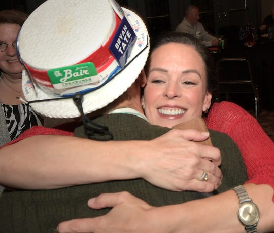 York County Commission candidate Julie Wheeler hugs long-time Republican supporter Jim Phipps of York Township during an Election Day watch party at the Strand Theater lobby Tuesday, November 5, 2019. Bill Kalina photo