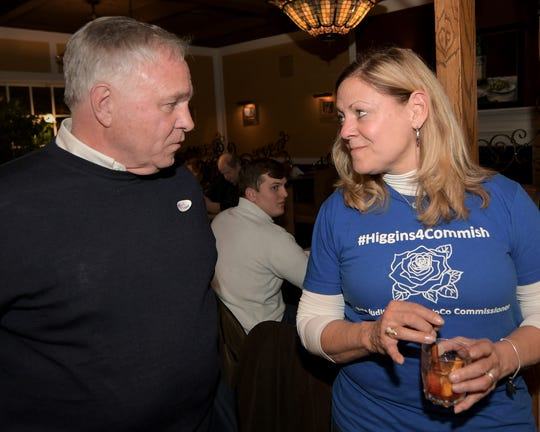 York County Commission incumbent Doug Hoke and commission candidate Judith Higgins talk during an Election Day watch party at the Roosevelt Tavern Tuesday, November 5, 2019. Bill Kalina photo