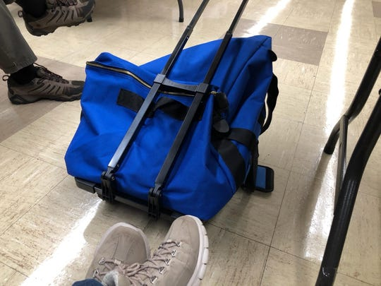 This suitcase was used to transport unscanned paper ballots from the Fairview Township 3 precinct on Tuesday after problems prevented them from going through the new voting process. They were to be counted, under supervision, through another scanner.