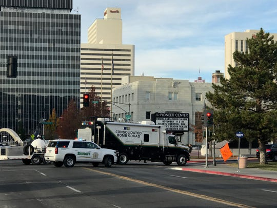 A bomb squad arrives at the Washoe County courthouse on Wednesday.