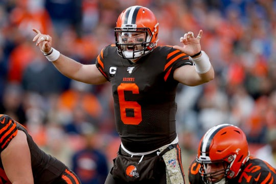 Cleveland Browns quarterback Baker Mayfield (6) makes a call against the Denver Broncos during the first half of last Sunday's game.