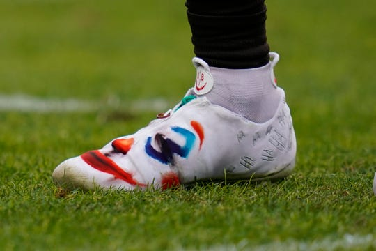 Cleveland Browns wide receiver Odell Beckham wears a pair of custom cleats during the first half of NFL football game against the Denver Broncos, Sunday, Nov. 3, 2019, in Denver. The NFL made both Beckham and Jarvis Landry change their cleats at halftime.