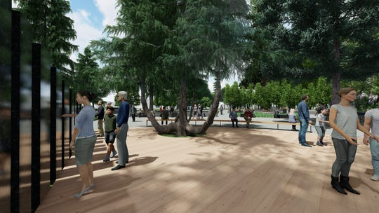 Renderings of the planned Vietnam War Memorial on the southwest corner of Willson Park at the Oregon State Capitol.