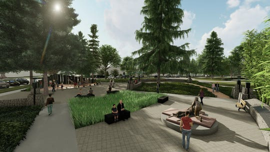 Renderings of the planned Vietnam War Memorial on the southwest corner of Willson Park at the Oregon State Capitol