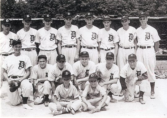 1947 Delmar Railroaders of the Central Shore League Front row (Left to Right) Jack Calloway, Jim ?Skeeter? Wilson Middle Row: Bobby Trader, Dickie Moore, Ralph Nichols, Tommy Sterling, Larry Sinagra, Nooks Naugle Back Row: Vaughn Lockerman, Sarge Cuglar, Buzz Morris, Austin Crockett, Joby Hearn, Bobby Maddox, Bunk Kerley, George Davis