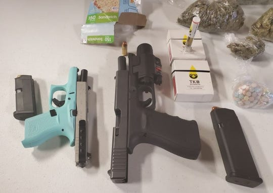 Pictured are items seized in a traffic stop connected to the arrest of Christian Blankenship.