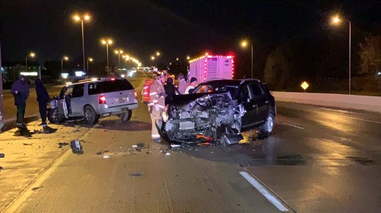 Authorities respond to a crash on a Sioux Falls-area interstate Tuesday night.