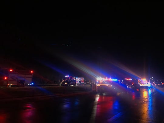 Authorities respond to a serious crash on Interstate 229 on Tuesday night in Sioux Falls.