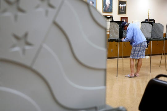 Ken Hopkins votes inside the Knights of Columbus building in the Boulevard precinct Tuesday, Nov. 5, 2019.