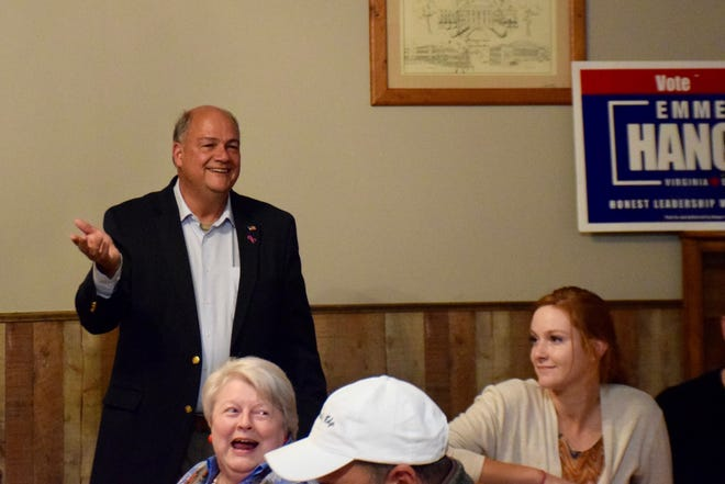 Chris Runion, elected to represent the 25th House District, thanks supporters at a joint election night party with Sen. Emmett Hanger and Steve Landes at Armstrong's in Verona.