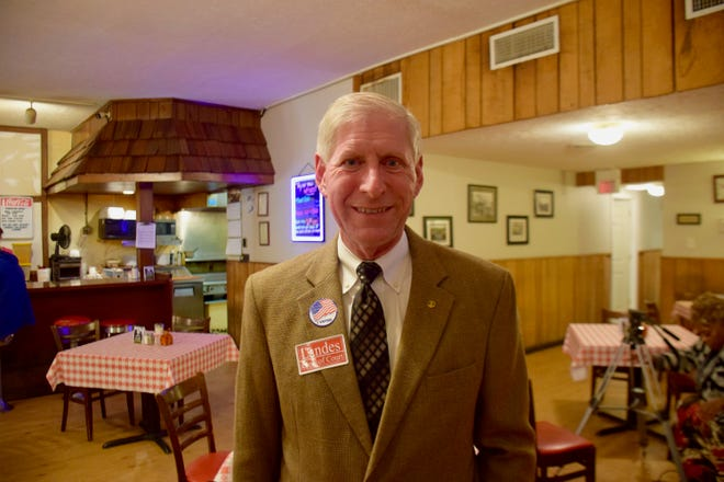 Newly elected Clerk of Court Steve Landes poses at an election night party at Armstrong's in Verona.