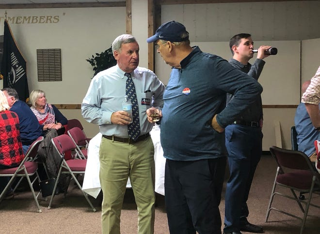 John Avoli joined supporters, family and friends at Elks Lodge in Staunton  for a watch party Tuesday evening.