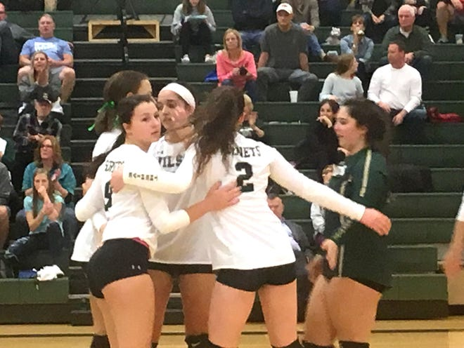 Wilson Memorial celebrates a point in Tuesday's Region 3C win over LCA.