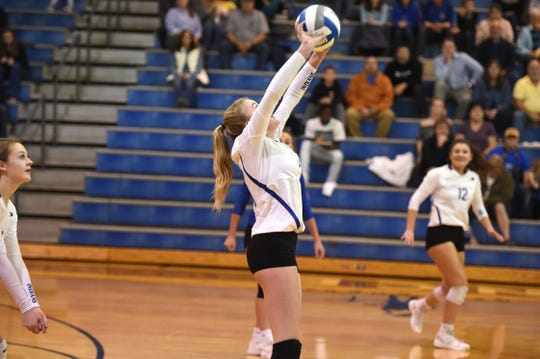 Fort Defiance's Maddie Painter with the set Tuesday night against Spotswood in the Region 3C quarterfinals.