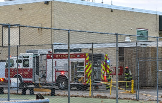 St. Cloud firefighters respond to a report of a fire at South Junior High School Tuesday, Nov. 5, 2019, in St. Cloud.