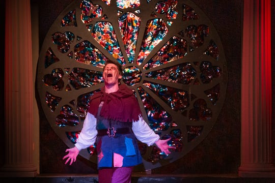 "Lost and alone, Quasimodo (Jon Mathes) feels he has been abandoned by all who have ever cared for him, and he is left to be ""Made of Stone"" in Monticello Opera House's production of ""The Hunchback of Notre Dame."""