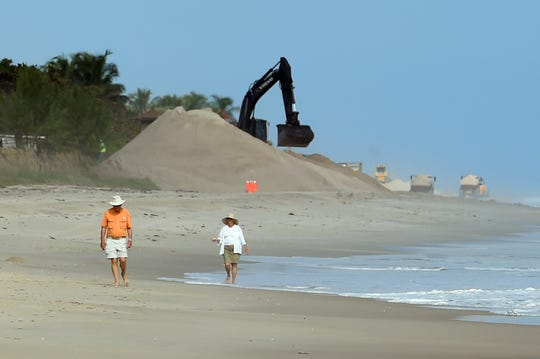 A section of shoreline from Indian River Shores to the Riomar Golf Course in Indian River County is getting much needed nourishment after suffering damage from hurricanes Matthew, Irama and Dorian. Crews have begun bringing in sand to Tracking Station Park which will be closed to the public until the end of December. The plans also include planting of the newly constructed dune crests with various native salt-tolerant plants, the most common being sea oats, to secure the newly placed sand, help capture wind-blown sand to naturally grow the dunes over time, and provide additional sea turtle nesting habitat.