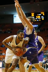 UTEP's Efe Odigie goes against New Mexico Highlands denies during the game Tuesday, Nov. 5, at the Don Haskins Center in El Paso.