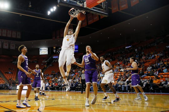 UTEP's Eric Vila dunks against New Mexico Highlands during the game Tuesday, Nov. 5, at the Don Haskins Center in El Paso.