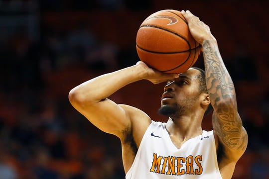 UTEP's Daryl Edwards takes a shot against New Mexico Highlands Tuesday, Nov. 5, at the Don Haskins Center in El Paso.