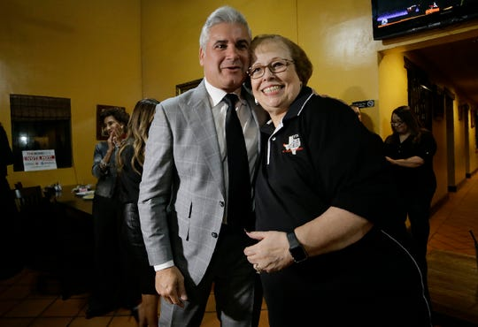 YISD Superintendent Dr. Xavier de la Torres hugs YISD Teachers Association President Arlinda Valencia after the bond passed Tuesday.