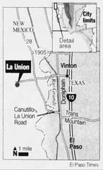 A map of the area where Melanie Ruth Billhartz's body was found near La Union, New Mexico.
