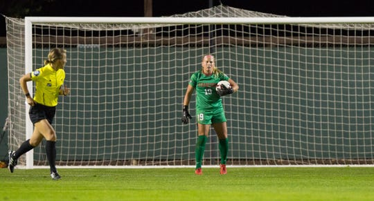 Stanford goalkeeper Katie Meyer has eight shutouts as a redshirt freshman, including a 1-0 win over visiting UCLA on  Oct. 19.