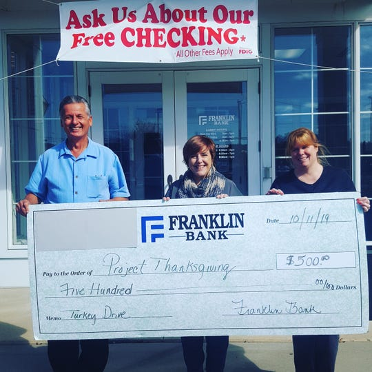 Franklin Bank recently donated $500 to support Project Thanksgiving's 11th annual turkey drive.