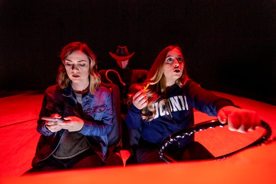 "Haley Wallace, left, Kayla Seffing, right, and Nick Ray rehearse for COS' production of ""Hooked"" on Tuesday, November 5, 2019."