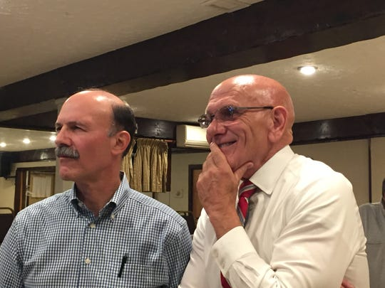 Harrison Councilman Steve Malfitano and town Supervisor Ron Belmont watch election results at the John Caboto Club in Harrison on Nov. 5, 2019.