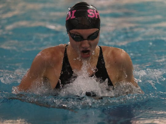 SHED's Ava Franks wins Girls 100 Yard Breaststroke during Section 1 Swimming and Diving Championships at Felix Festa Middle School in West Nyack Nov. 5, 2019.
