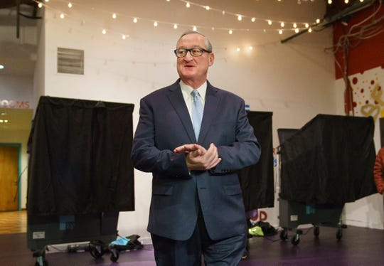 Philadelphia Mayor Jim Kenney exits a voting booth after voting on Election Day at the Painted Bride Theater, in Philadelphia, Tuesday, Nov. 5, 2019. (Jessica Griffin/The Philadelphia Inquirer via AP)