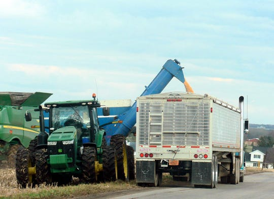 Emptying the grain cart into the semi then to the dryer or bin.